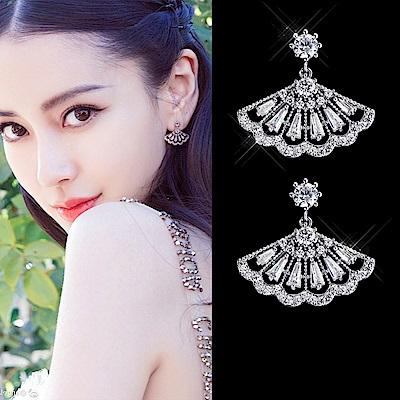 梨花HaNA 韓國925銀瑰麗扇型閃耀絕代耳環夾式/針式選