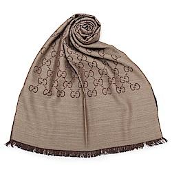 GUCCI 經典滿版LOGO真絲羊毛圍巾披肩-咖啡色
