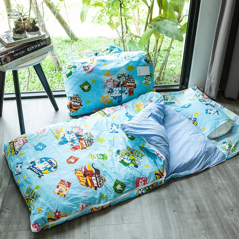 戀家小舖 / 兒童標準睡袋  波力救援小英雄藍  高密度磨毛布  台灣製