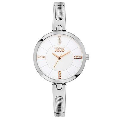 NATURALLY JOJO 幸福雙重奏腕錶-銀x玫瑰金/30mm
