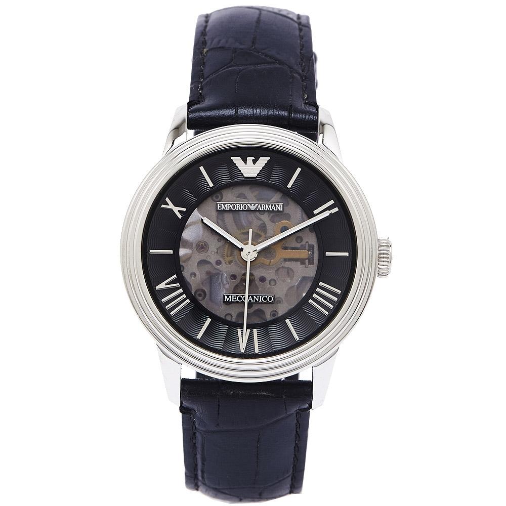EMPORIO ARMANI圓弧款玻璃鏡面款機械錶(AR4669)-黑面X黑色/39mm