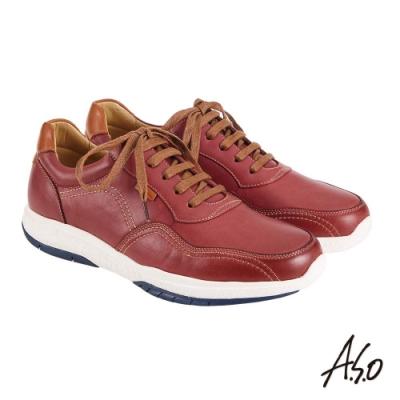 A.S.O 機能休閒 萬步健康鞋 綁帶款休閒鞋-暗紅
