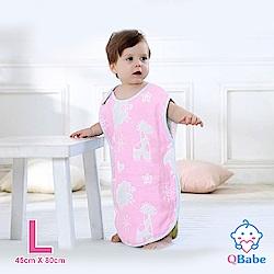 QBabe 全棉六層紗 寶寶兒童四季防踢被-粉色動物-L