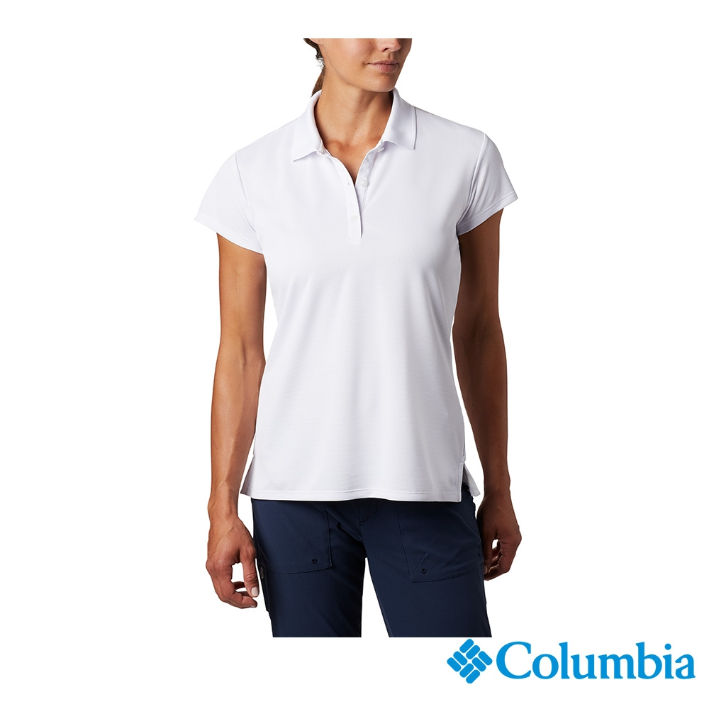 Columbia 哥倫比亞 男女款- UPF50快排短袖Polo衫-6色 活動款 (女款-白色)