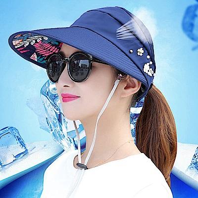 可折疊太陽帽 遮陽帽 空頂帽-(快)