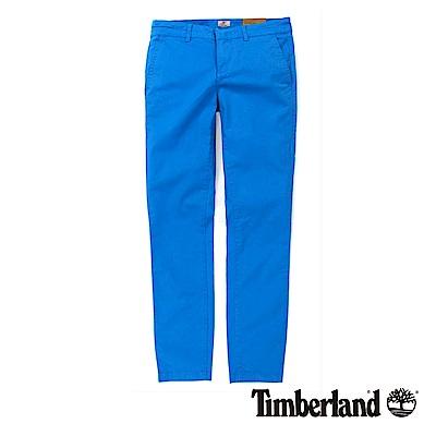 Timberland 女款藍色素面彈性修身休閒九分褲
