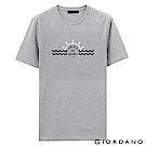 GIORDANO 男裝假期休閒印花T恤-38 中花灰