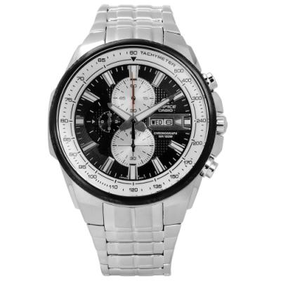 EDIFICE CASIO 卡西歐完美進化三環日期不鏽鋼手錶-銀黑色/47mm