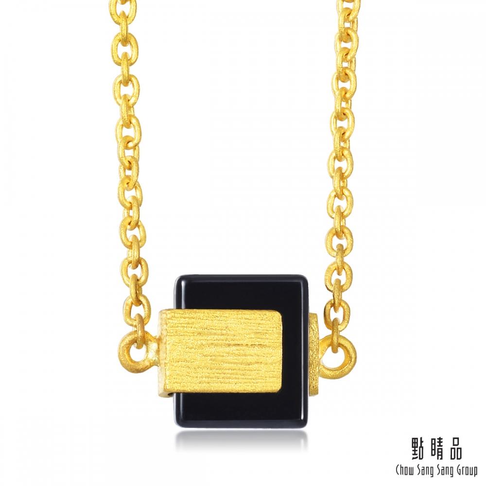 點睛品g collection 方形黑玉髓 黃金項鍊