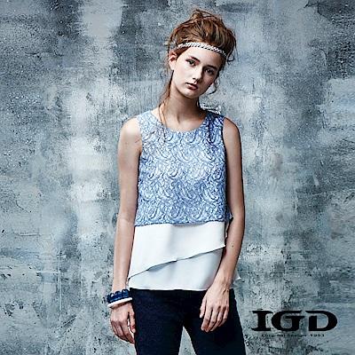 IGD英格麗 假兩件變形蟲刺繡拼接雪紡上衣