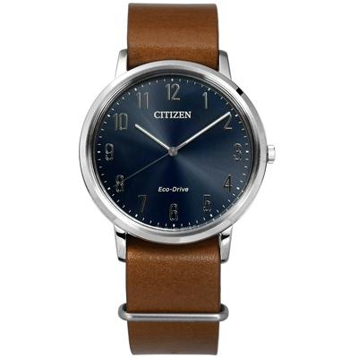 CITIZEN 星辰表 光動能阿拉伯數字時標日本機芯牛皮手錶-藍x咖啡/40mm