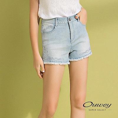 OUWEY歐薇 抽鬚造型彈性刷白牛仔短褲(藍)