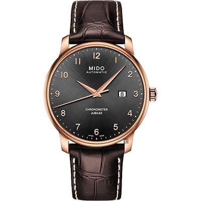 MIDO美度 Baroncelli 永恆系列天文台認證機械錶-玫瑰金框x咖啡/42mm