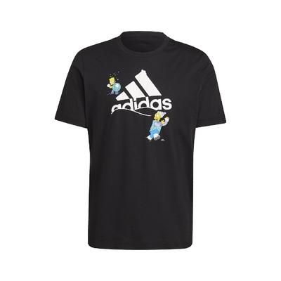 adidas T恤 Graphic Tee 辛普森家庭 男款 愛迪達 The Simpsons 打雪仗 黑 白 GS6314