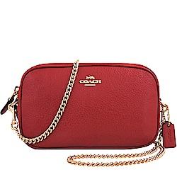 COACH 紅色荔枝紋皮革鍊帶雙層斜背包