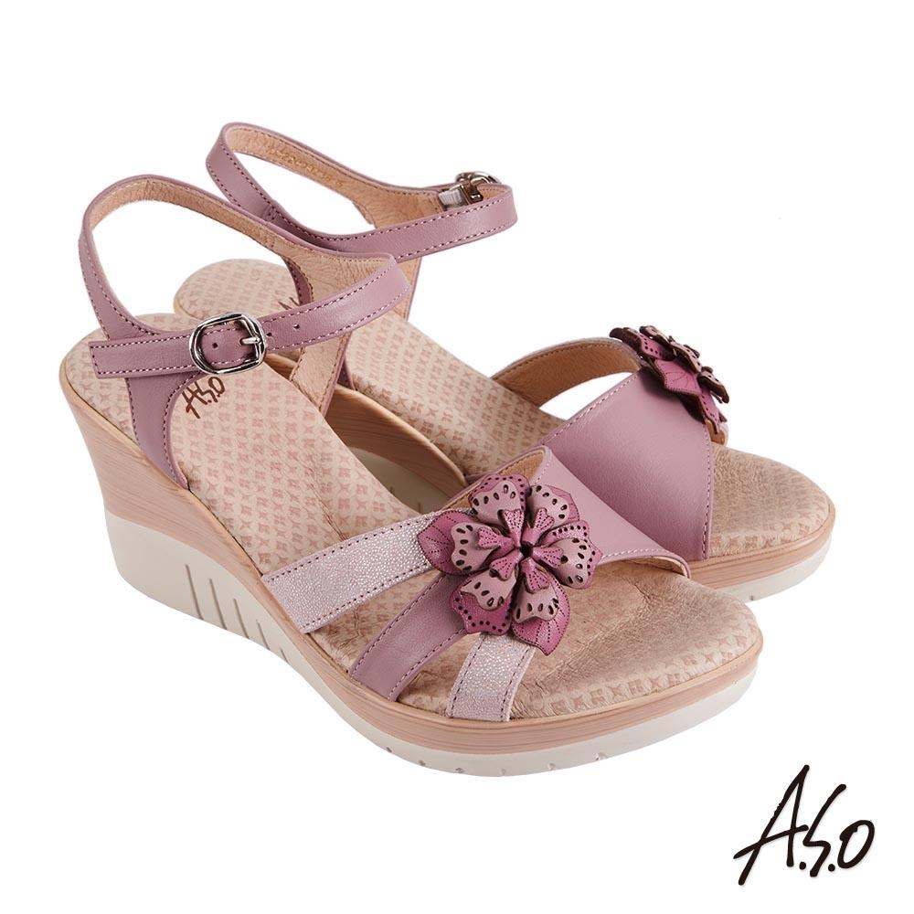 A.S.O 機能休閒 厚底美學立體花卉楔型涼鞋-粉紅