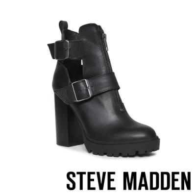 STEVE MADDEN-LAVISH 奢華前衛款皮帶高跟短靴-黑色