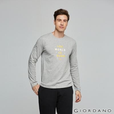 GIORDANO 男裝EXPLORE FUTURE印花長袖T恤- 48 中花灰