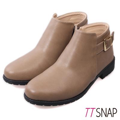 TTSNAP短靴 MIT簡約側釦帶低跟踝靴 駝