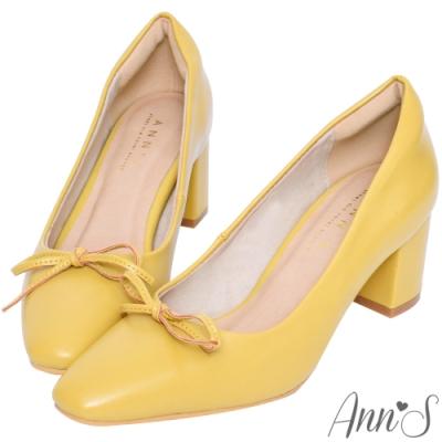 Ann'S法式優雅-油皮細緻蝴蝶結粗跟方頭跟鞋-黃