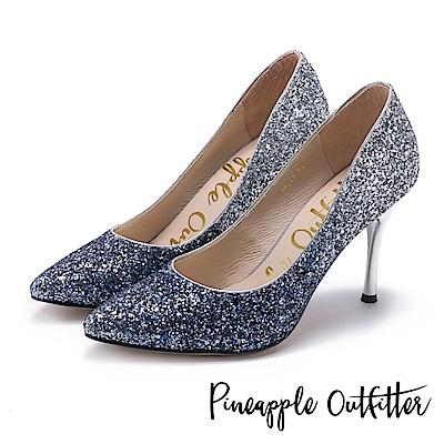 Pineapple Outfitter 璀璨名媛 漸層亮片尖頭高跟鞋-藍色