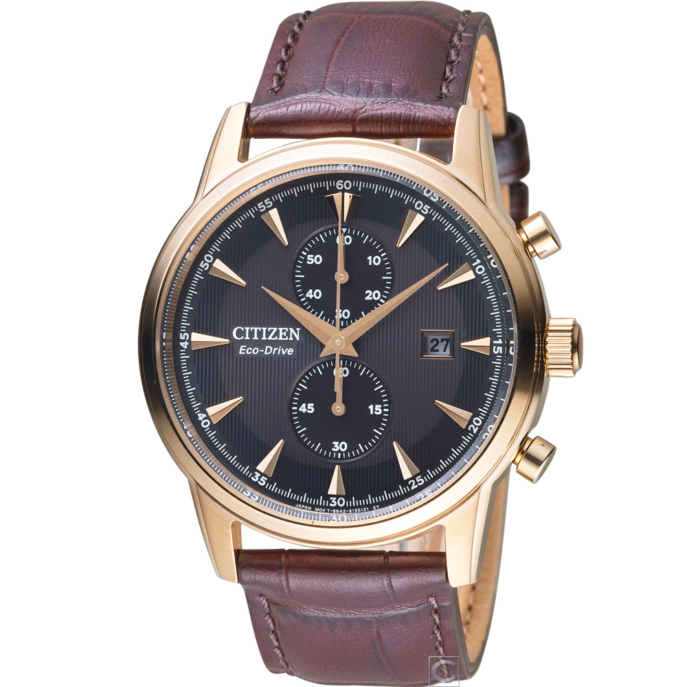 CITIZEN Eco-Drive 都會雅痞時尚腕錶(CA7008-11E)咖啡/43mm product image 1