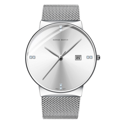 HANNAH MARTIN 浩瀚博宇鑲鑽刻度設計米蘭帶男錶-銀白/40mm