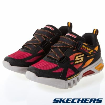 SKECHERS 男童燈鞋系列 FLEX GLOW - 400015LBKRD