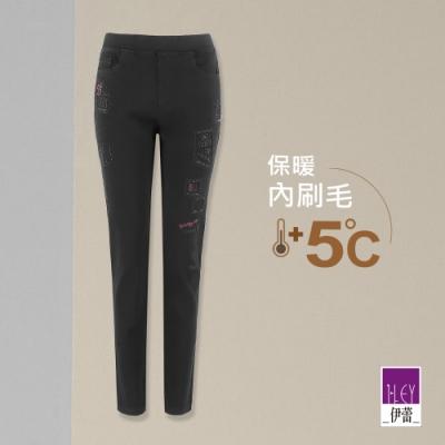 ILEY伊蕾 美式刺繡燙鑽牛仔窄管褲(黑)