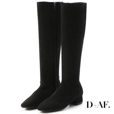 D+AF 人氣百搭.素面顯瘦感合腿長靴*黑絨