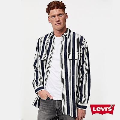 Levis 男款 牛仔工裝襯衫外套 Oversize寬鬆版型 精工藍染條紋