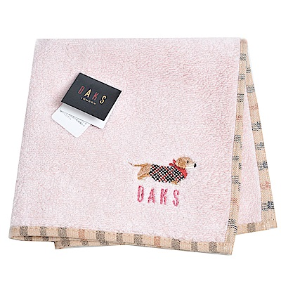 DAKS 經典品牌格紋字母可愛臘腸狗刺繡LOGO小方巾(淺粉紅)