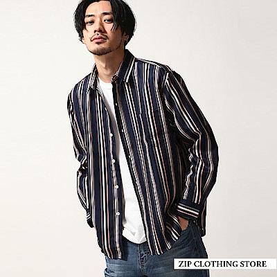 多色直條紋長袖襯衫(2色) ZIP日本男裝