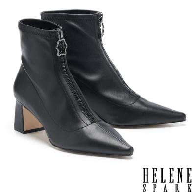 短靴 HELENE SPARK 摩登時髦金屬拉鍊尖頭粗方跟短靴-黑