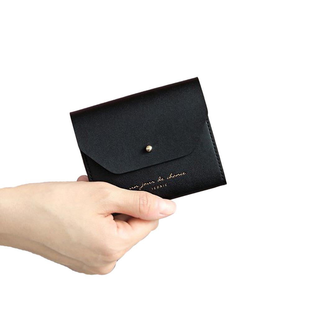 ICONIC 職人風格皮革票卡夾零錢包M-氣質黑