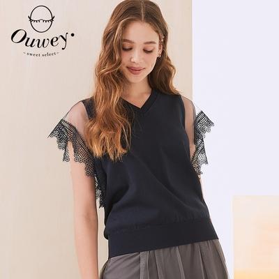 OUWEY歐薇 水溶蕾絲縷空袖型針織上衣(深藍)3212165040
