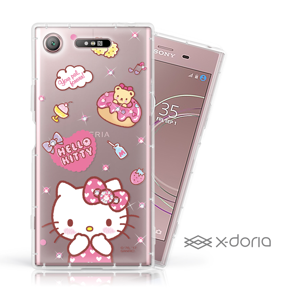 Hello Kitty SONY XZ1 彩繪水鑽手機空壓殼 - 甜甜圈