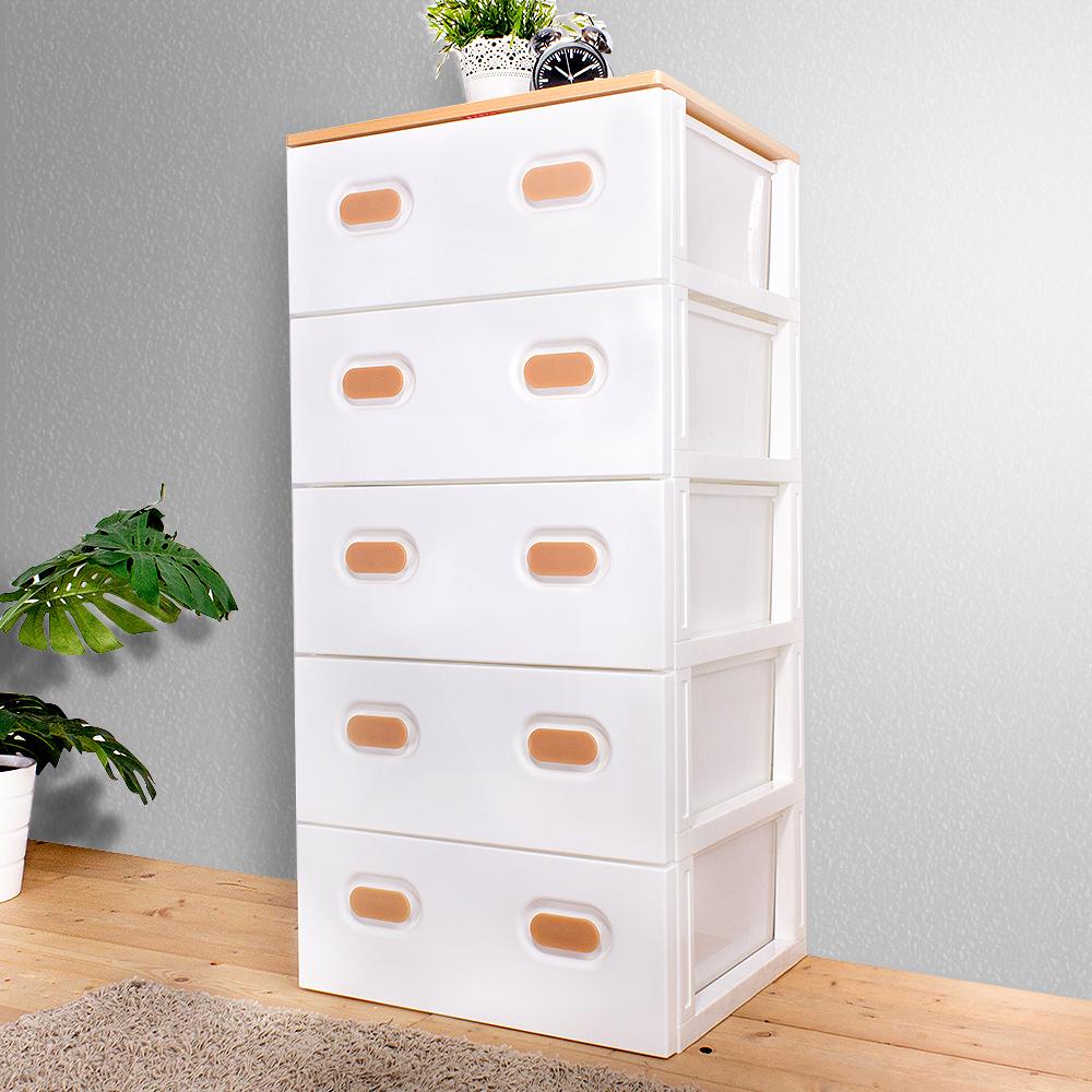 HOUSE 台灣製 木天板-TODAY衣物抽屜式五層收納櫃-超大款 5大抽【台灣製】-白色