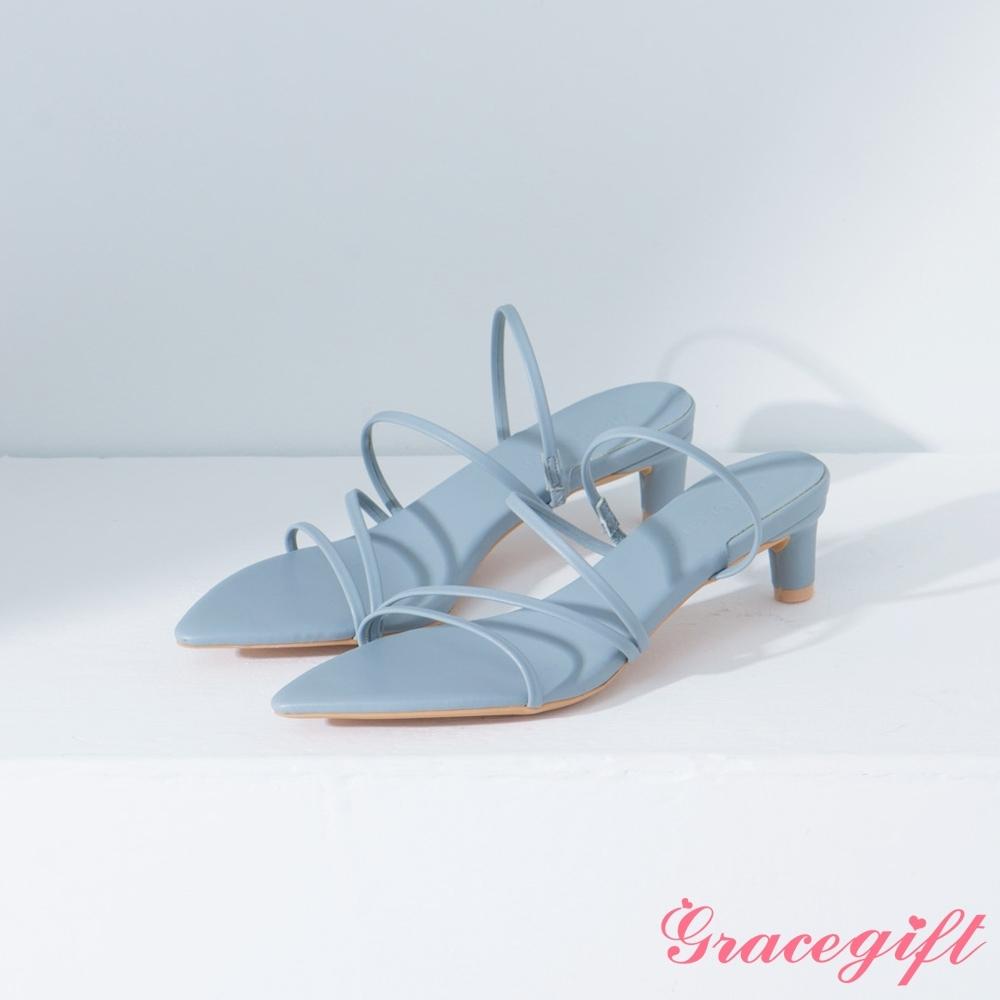 Grace gift-尖頭層次細帶中跟涼鞋 藍灰