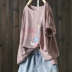 不規則印花棉麻短袖條紋T恤寬松洋氣上衣-設計所在