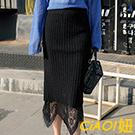 鏤空織蕾絲坑條針織包臀裙 (黑色)-CIAO妞