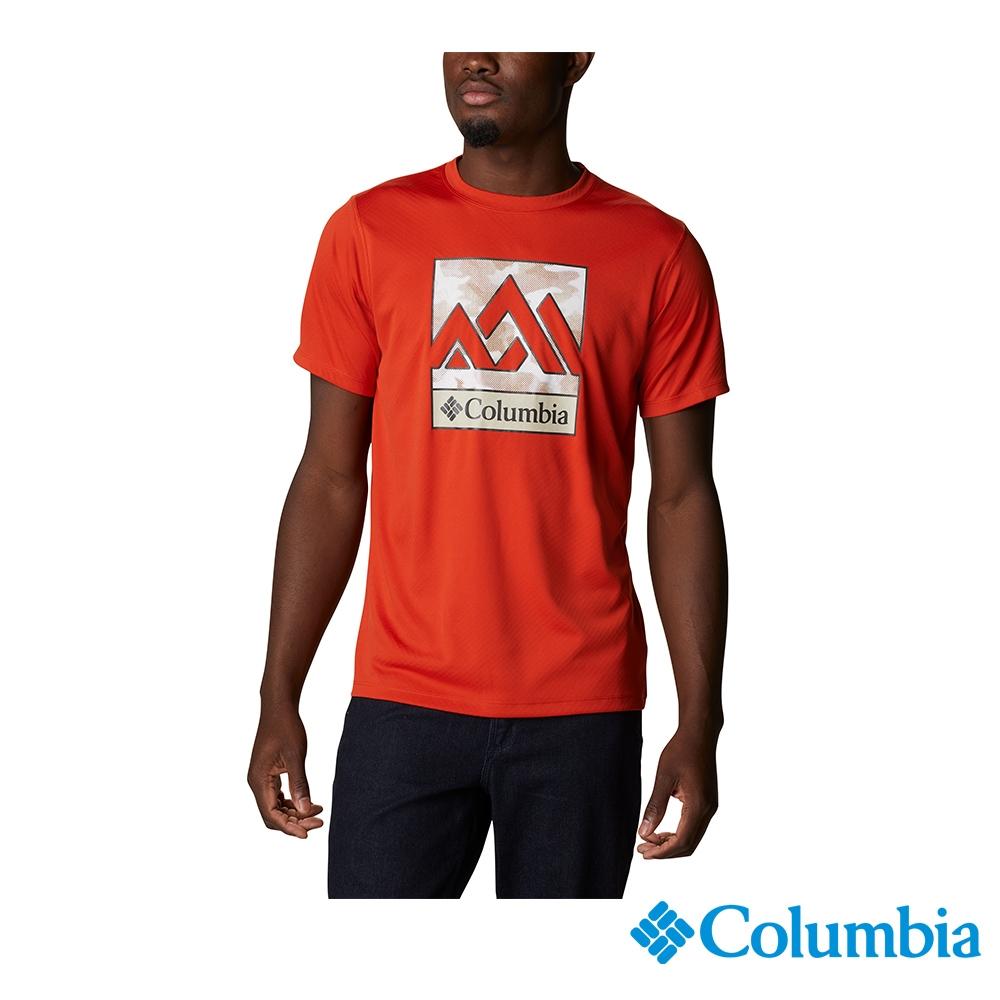 Columbia 哥倫比亞 男款- UPF30涼感快排LOGO短袖上衣- 活動款 UAE64630 (紅色)