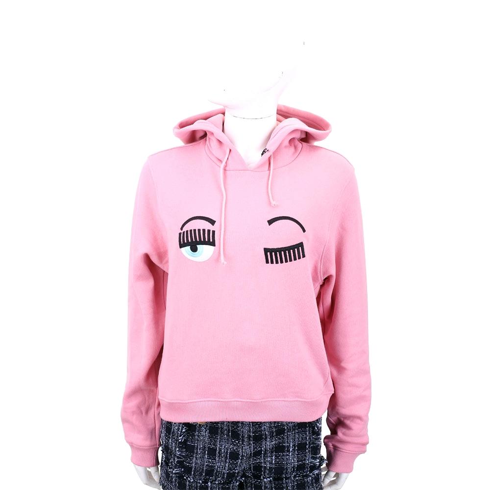 Chiara Ferragni Flirting 刺繡眨眼粉色短版連帽棉質運動衫