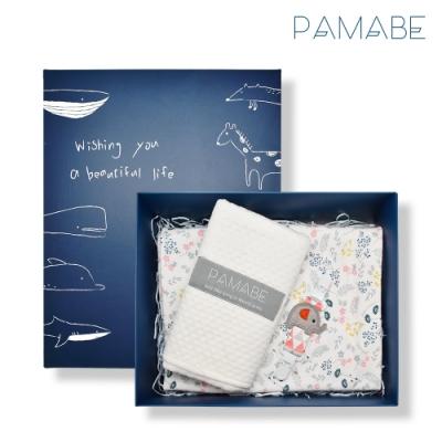 【PAMABE】大象好朋友彌月獻禮(手帕夾+外出尿布墊+寶寶涼被)