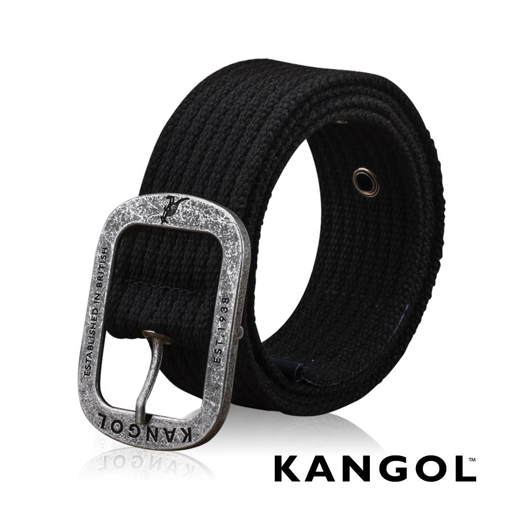 KANGOL EVOLUTION系列 英式潮流休閒針釦皮帶-黑色藍標
