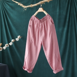 輕薄亞麻寬鬆顯瘦百搭棉麻九分哈倫褲子七色可選-設計所在