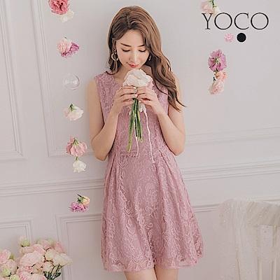 東京著衣-YOCO 輕鬆駕馭滿版蕾絲背心洋裝-共兩色