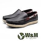 W&M 真皮滾邊防滑休閒鞋 男鞋 - 黑(另有可可)