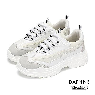 達芙妮DAPHNE 休閒鞋-網布拼接彈性繫帶厚底休閒鞋-白