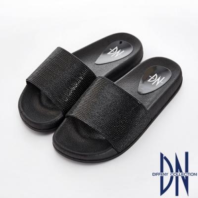 DN 隨性風格 滿版水鑽寬版一字彈力涼拖鞋-黑